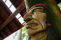 The red indian sculptured wood. Stock Photos