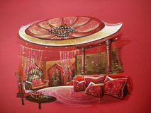 Red indian style bedroom interior with round bed. Red indian style bedroom interior. Luxury design with hot color tone Royalty Free Stock Images