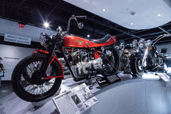 Red 1968 Indian Super Scout motorcycle Stock Images