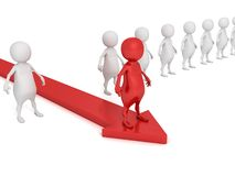 Red individual 3d man on arrow moving forvard out from crowd Stock Photo