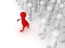 Red individual 3d men steps uot of others crowd. 3d Royalty Free Stock Photos
