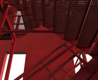 Red industrial stairs. 3D rendered illustration of industrial stairs. The composition is  on a white background with shadows Royalty Free Stock Image