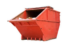 Red Industrial Waste Bin. Isolated Over White royalty free stock photography