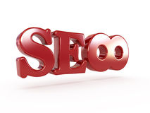 Red infinite SEO. Conceptual red SEO with infinite simbol on white Stock Image