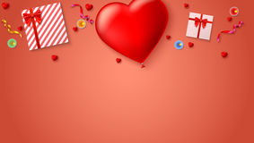 Red inflatable balloon in the shape of a heart with gift boxes, candles, tinsel and confetti on colored background. Template for creative persons. Best Royalty Free Stock Photo