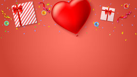 Red inflatable balloon in the shape of a heart with gift boxes, candles, tinsel and confetti on colored background. Template for creative persons. Best Stock Images