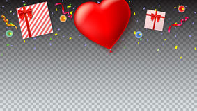 Red inflatable balloon in the shape of a heart with gift boxes, candles, tinsel and confetti on transparent background. Template for creative persons Royalty Free Stock Images