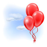 Red inflatable balloons in the air Royalty Free Stock Images