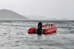 Red inflatable boat Royalty Free Stock Images