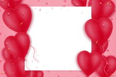 Red inflatable heart-shaped balloons on a pink background. Empty white sheet for text. Copy space. Mothers Day
