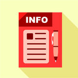 Red info board icon, flat style. Red info board icon. Flat illustration of red info board vector icon for web Stock Images