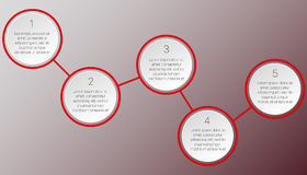 Red infographics of two round blocks. Red round infographics of 5 blocks Stock Image