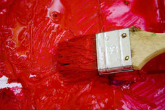 Red ink. A detail of a brush with red ink Stock Photo