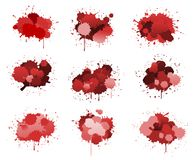Red ink blobs Stock Photo