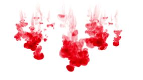 Red ink dissolves in water on white background with luma matte. 3d render of computer simulation. Ink volleys as a wall. Ink dissolves in water on white vector illustration