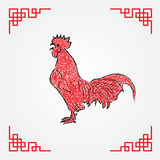 Red ink drawing line art , chicken zodiac Stock Image
