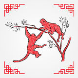 Red ink drawing line art , monkey zodiac Royalty Free Stock Photo