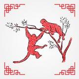 Red ink drawing line art , monkey zodiac Royalty Free Stock Photo