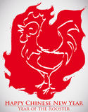 Red Ink with Fire Shape and Rooster Celebrating New Year, Vector Illustration Stock Photography