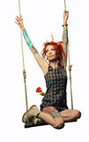 Red ink girl on a swing Royalty Free Stock Image