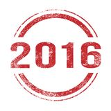 2016 Red Ink Stamp. A 2016 red ink grunge stamp over a white background Stock Photo