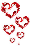 Red ink heart. Small and big isolated royalty free stock images