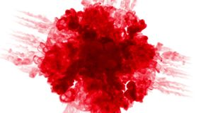 Red ink inject in water on white background. 3d animation with luma matte as alpha channel in slow motion. Use for ink. Effect, transition or beautiful colorful stock footage