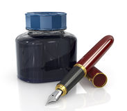 Red ink pen with a jar of ink Royalty Free Stock Photos