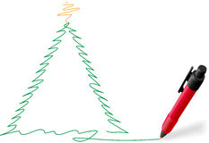 Red ink pen writing Merry Christmas tree drawing Stock Photos