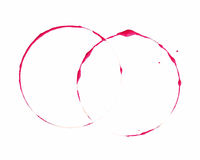 Red ink ring stain mark on white background Stock Images