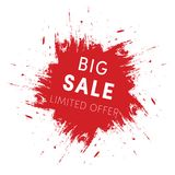 Red ink splash, big sale tag template. Limited offer sign isolated on white background Stock Image