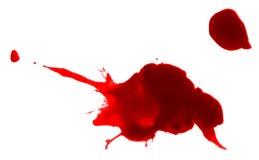 Red ink splash liquid splattered inkblot drop. Red paint drop splash artistic spot inkblot drip blood stock images