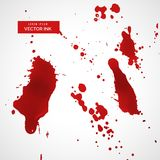 Red ink splatter or blood stain texture set Royalty Free Stock Photography