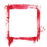 Red ink square frame. Isolated on the white background Stock Photography