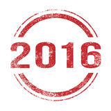 2016 Red Ink Stamp. A 2016 red ink grunge stamp over a white background Stock Photos