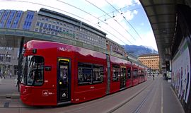 Red Innsbruck tram Royalty Free Stock Photo