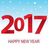 Red inscription 2017 on the background of sky and snow. Happy New Year. Vector illustration Royalty Free Stock Photo