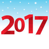 Red inscription 2017 on the background of sky and snow. Happy New Year. Vector illustration Royalty Free Stock Image