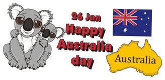 Red inscription Happy Australian day with koalas Stock Photo