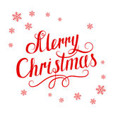 Red inscription Merry Christmas and snowflakes on white background Stock Photos