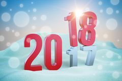 Red inscription New Year 2018 in snowdrift. 3d illustration render Stock Photo