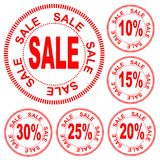 Sale, the numbers for discount of 10%, 15%, 20%, 25%, 30%, vector. Red inscription `sale` in the circle, figures for the discount 10%, 15%, 20%, 25%, 30%, vector Royalty Free Stock Images