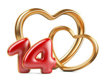 Red inscription 14 and two golden hearts shape Stock Photography
