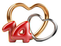 Red inscription 14 and two golden hearts shape Royalty Free Stock Photography