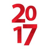 2017 Red inscription on a white background. Happy New Year. Vector illustration Stock Photos