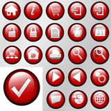 Red Inset Control Button Icons. Set of shiny red inset Control Button Icons for white or gray backgrounds royalty free illustration