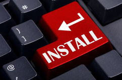 Red install button on the  keyboard Stock Image
