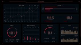 Red intelligent head-up display dashboard for business, games, web and app