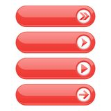 Red interface buttons with arrows. Vector illustration isolated on white background Royalty Free Stock Images