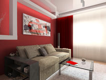 Red Interior. Modern, interior, house, dwelling, design, technology, 3d Stock Photography